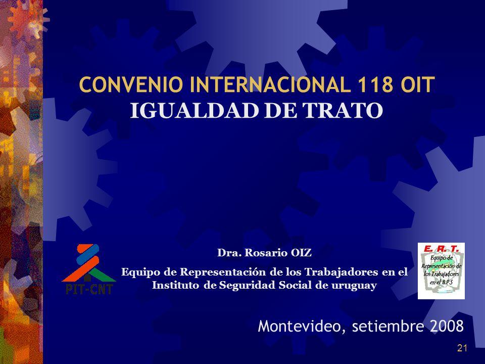 CONVENIO INTERNACIONAL 118 OIT IGUALDAD DE TRATO