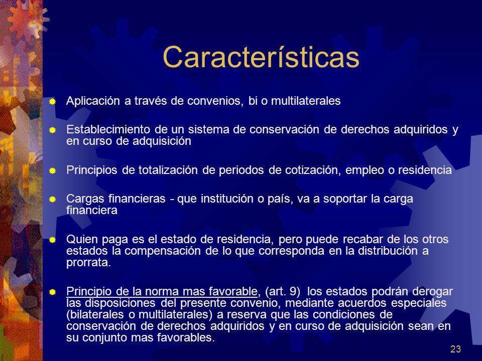 Características Aplicación a través de convenios, bi o multilaterales