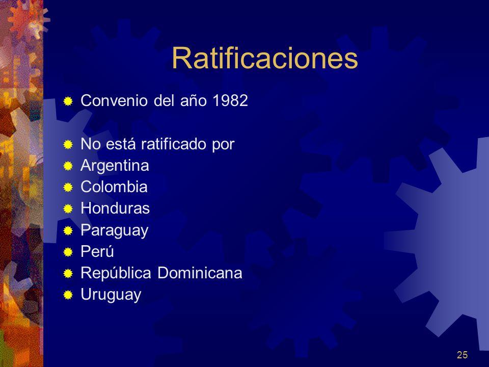 Ratificaciones Convenio del año 1982 No está ratificado por Argentina