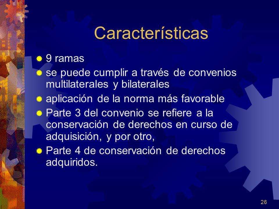 Características 9 ramas