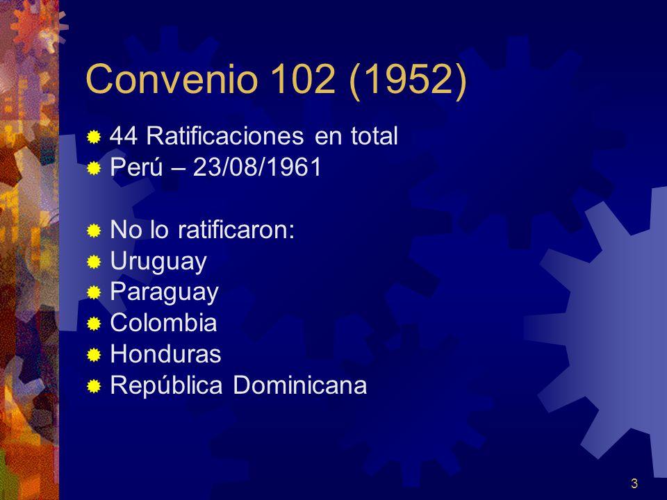 Convenio 102 (1952) 44 Ratificaciones en total Perú – 23/08/1961
