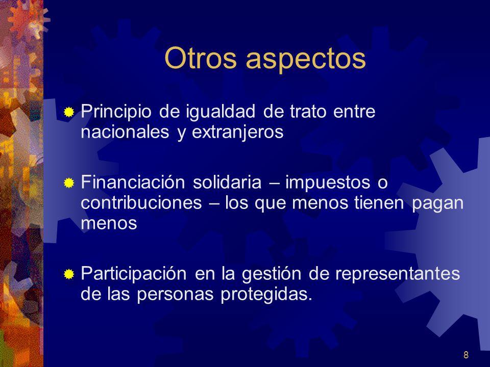 Otros aspectos Principio de igualdad de trato entre nacionales y extranjeros.