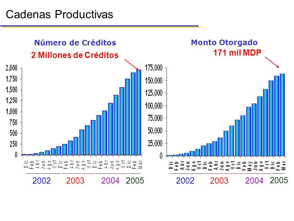 Cadenas Productivas 171 mil MDP 2 Millones de Créditos 2002 2003 2004