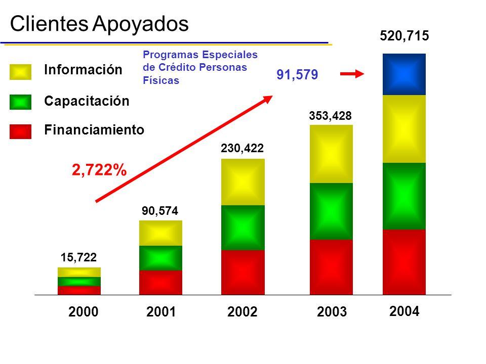 Clientes Apoyados 2,722% 520,715 91,579 Información Capacitación