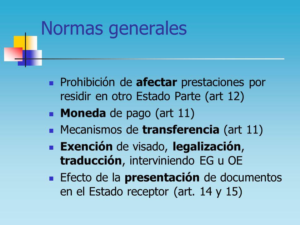 Normas generales Prohibición de afectar prestaciones por residir en otro Estado Parte (art 12) Moneda de pago (art 11)