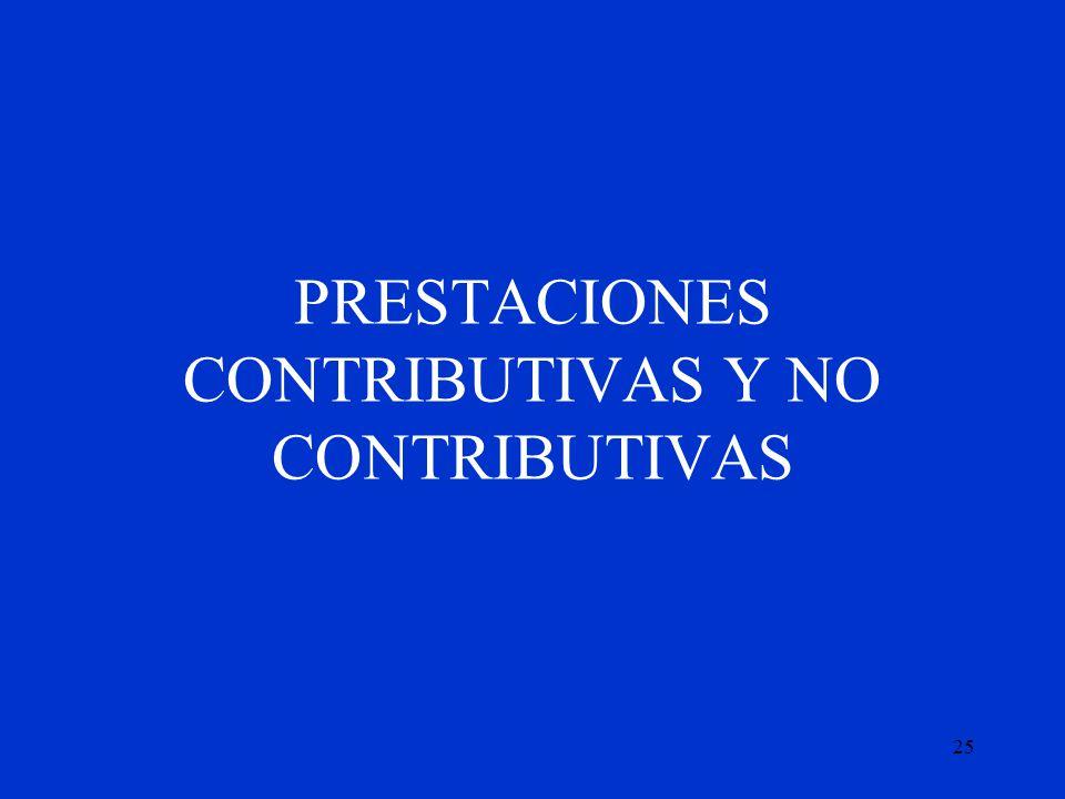 PRESTACIONES CONTRIBUTIVAS Y NO CONTRIBUTIVAS