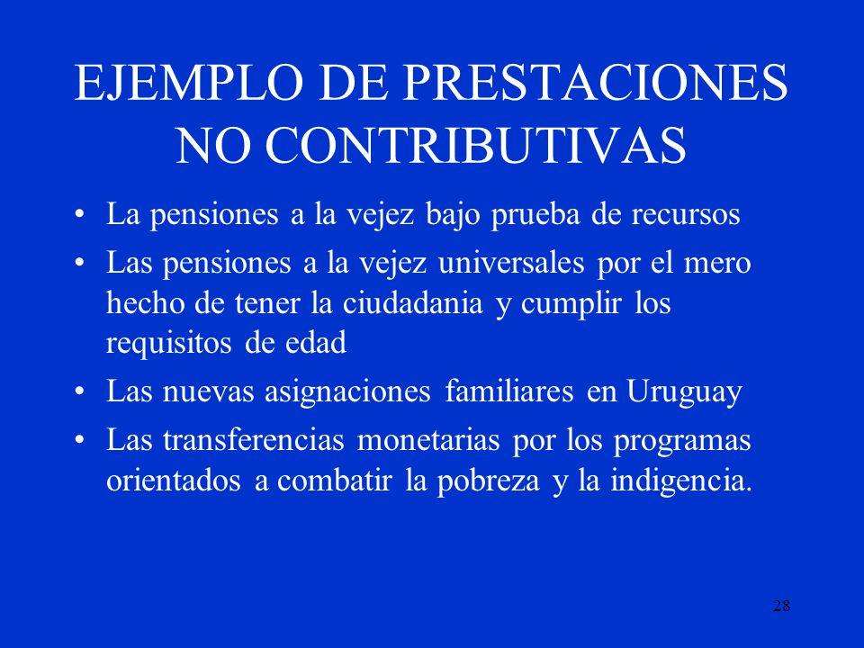 EJEMPLO DE PRESTACIONES NO CONTRIBUTIVAS