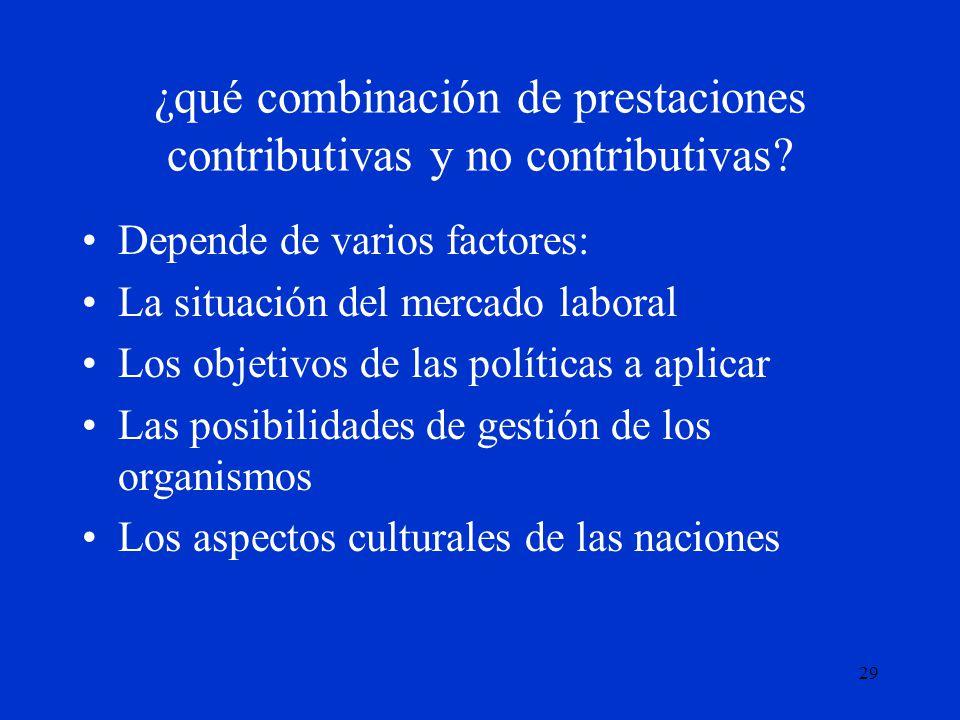 ¿qué combinación de prestaciones contributivas y no contributivas