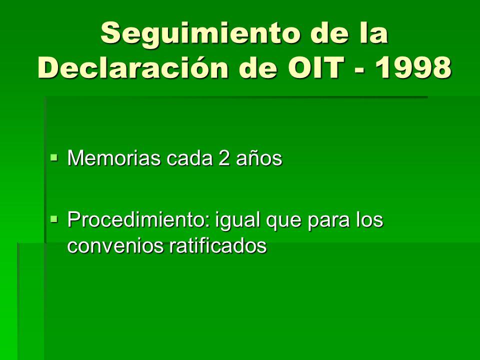 Seguimiento de la Declaración de OIT - 1998