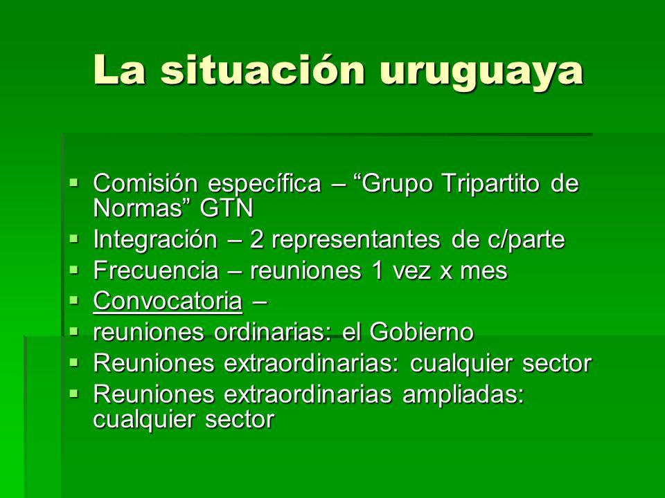 La situación uruguaya Comisión específica – Grupo Tripartito de Normas GTN. Integración – 2 representantes de c/parte.