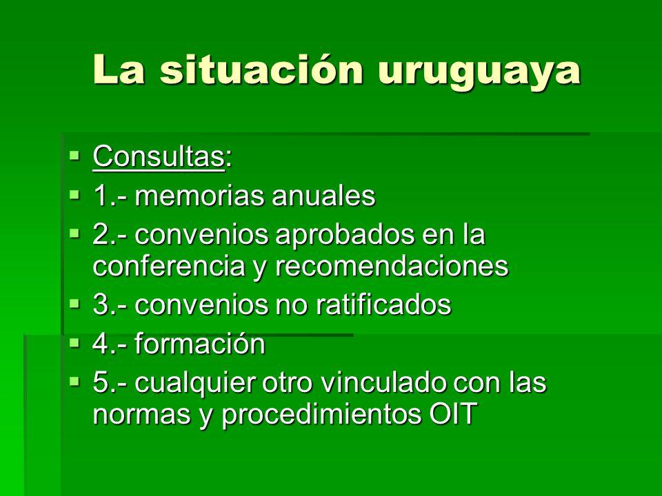 La situación uruguaya Consultas: 1.- memorias anuales