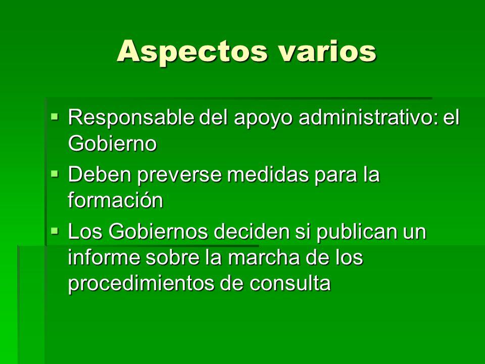 Aspectos varios Responsable del apoyo administrativo: el Gobierno