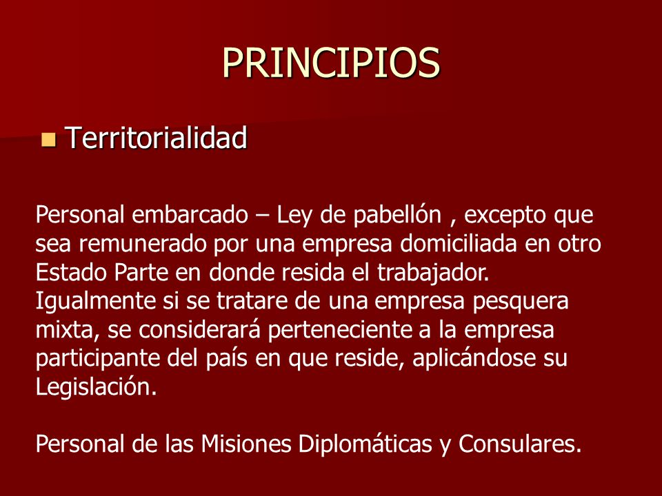 PRINCIPIOS Territorialidad