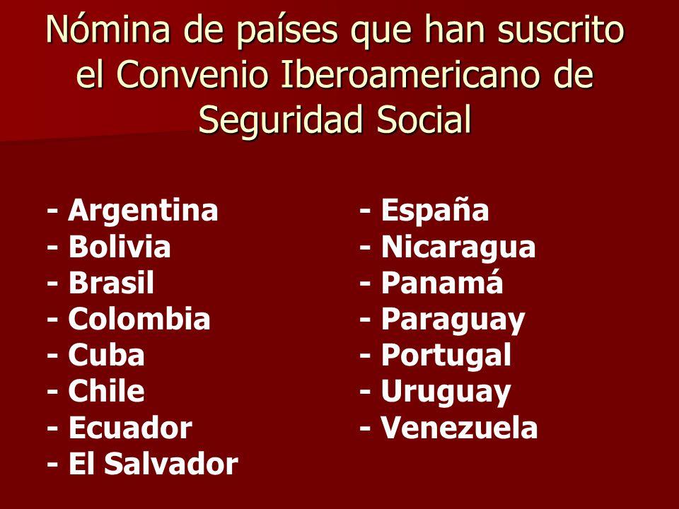 Nómina de países que han suscrito el Convenio Iberoamericano de Seguridad Social