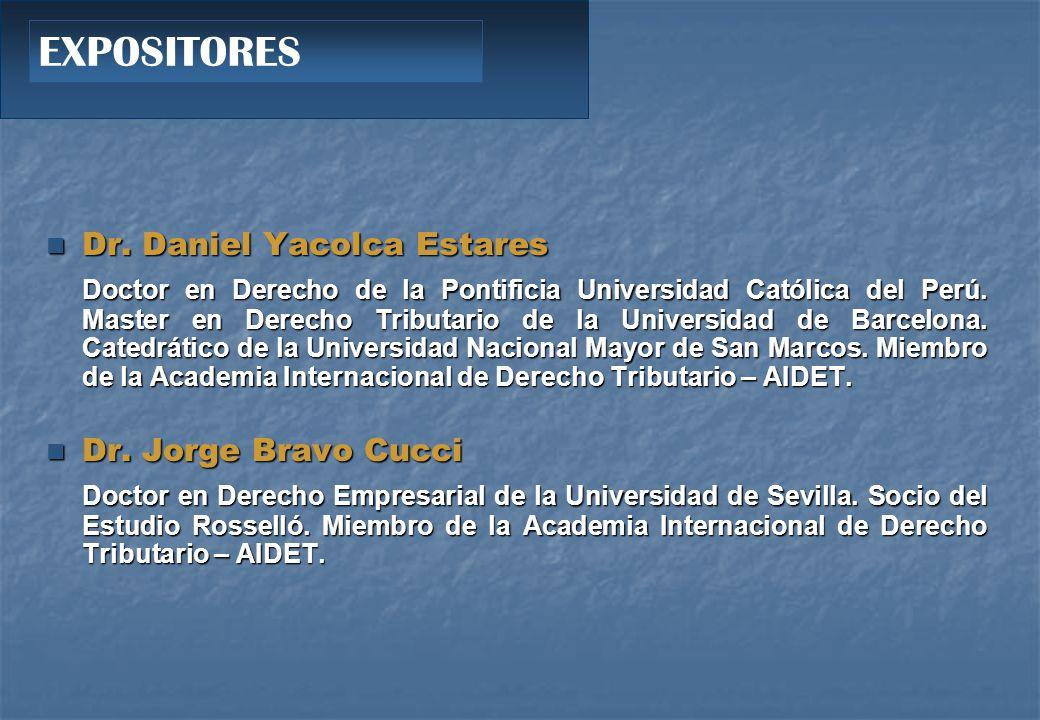 EXPOSITORES Dr. Daniel Yacolca Estares