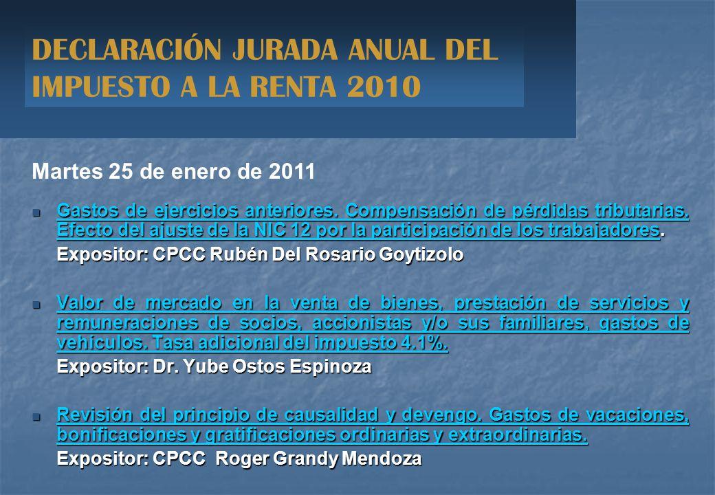DECLARACIÓN JURADA ANUAL DEL IMPUESTO A LA RENTA 2010