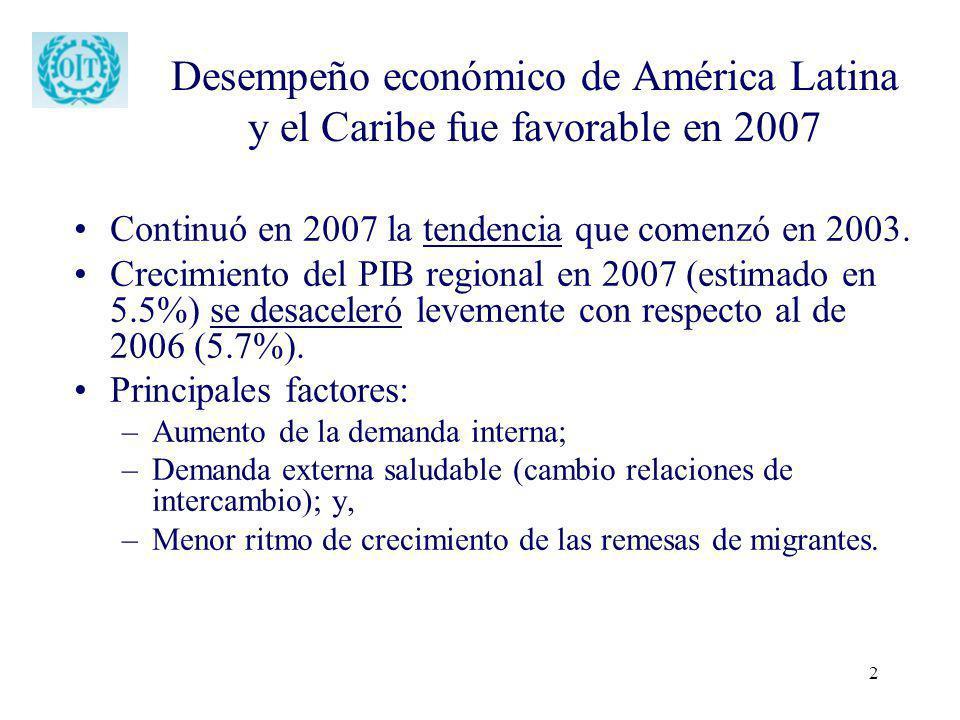 Desempeño económico de América Latina y el Caribe fue favorable en 2007
