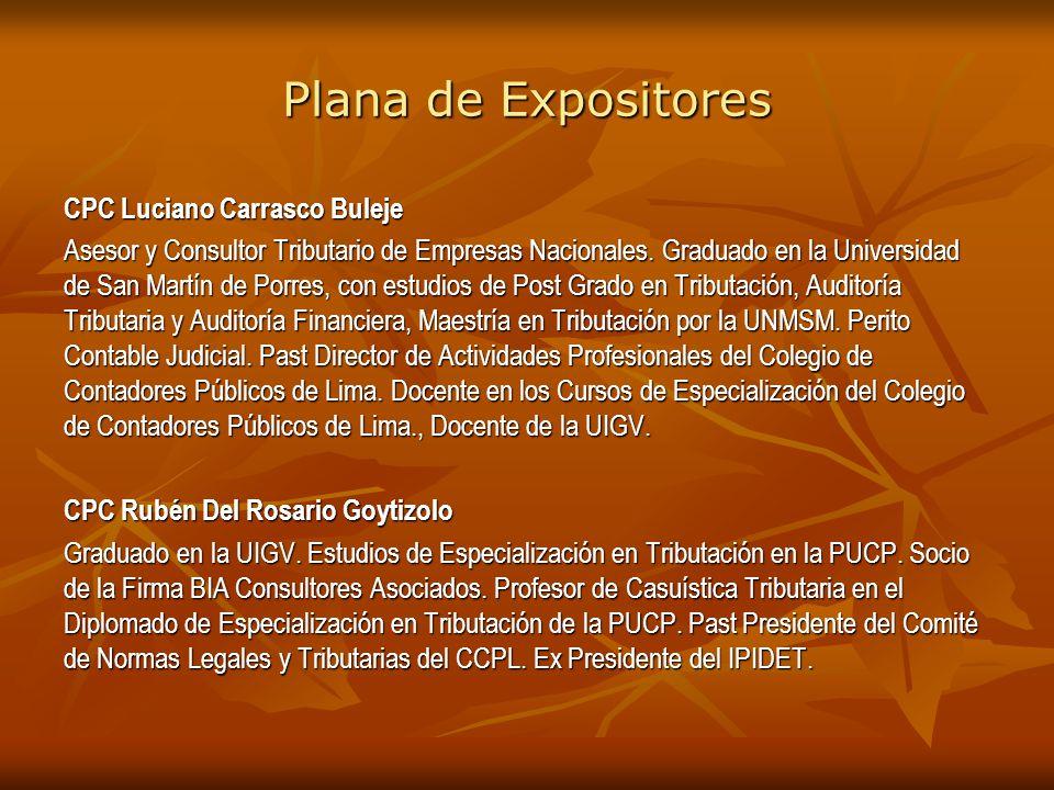 Plana de Expositores CPC Luciano Carrasco Buleje