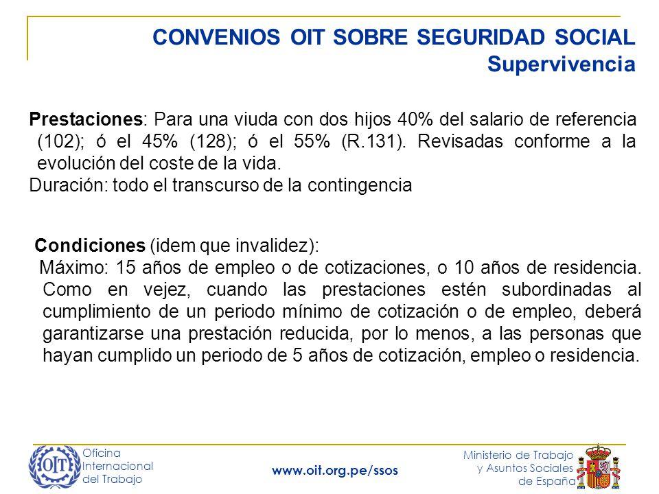 CONVENIOS OIT SOBRE SEGURIDAD SOCIAL Supervivencia