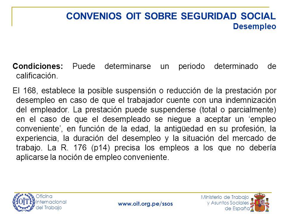CONVENIOS OIT SOBRE SEGURIDAD SOCIAL Desempleo