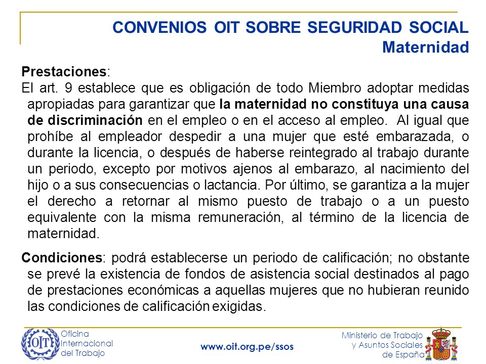 CONVENIOS OIT SOBRE SEGURIDAD SOCIAL Maternidad