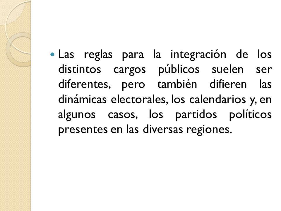 Las reglas para la integración de los distintos cargos públicos suelen ser diferentes, pero también difieren las dinámicas electorales, los calendarios y, en algunos casos, los partidos políticos presentes en las diversas regiones.