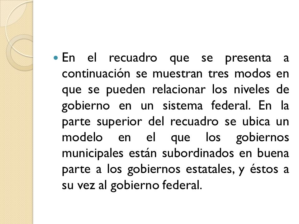 En el recuadro que se presenta a continuación se muestran tres modos en que se pueden relacionar los niveles de gobierno en un sistema federal.
