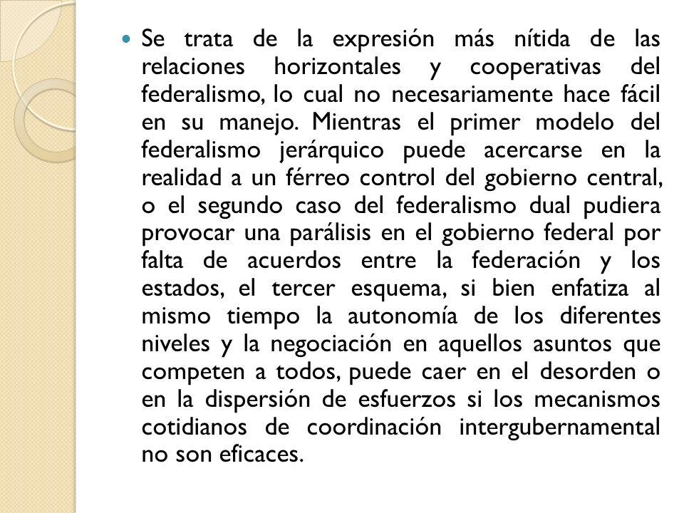 Se trata de la expresión más nítida de las relaciones horizontales y cooperativas del federalismo, lo cual no necesariamente hace fácil en su manejo.