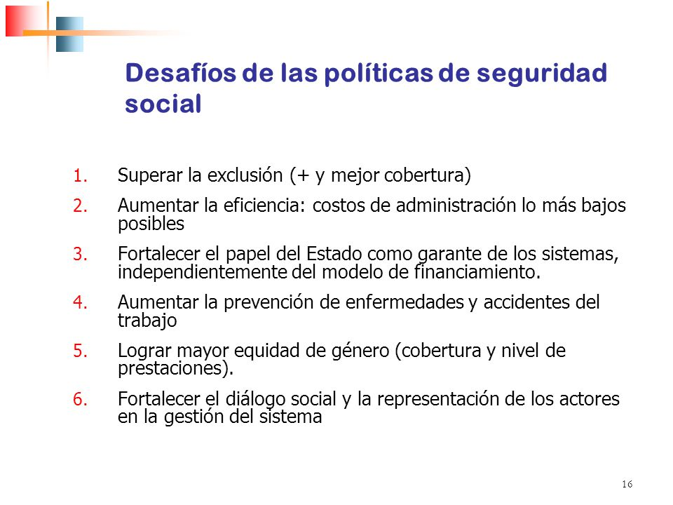 Desafíos de las políticas de seguridad social