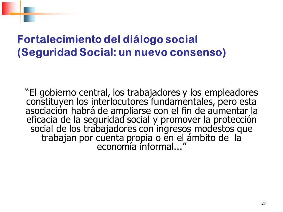 Fortalecimiento del diálogo social (Seguridad Social: un nuevo consenso)