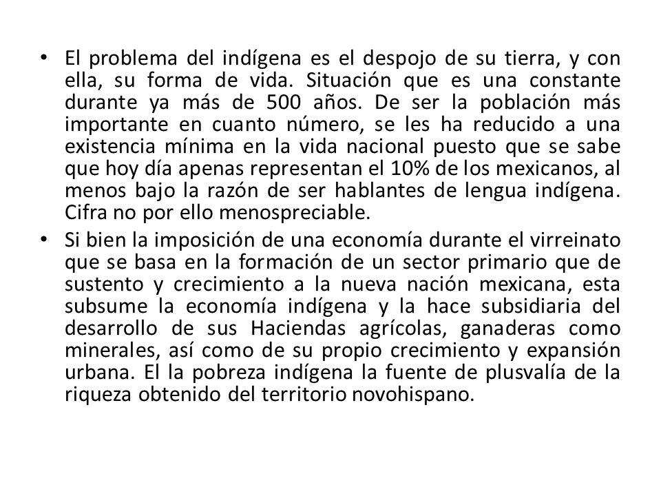 El problema del indígena es el despojo de su tierra, y con ella, su forma de vida. Situación que es una constante durante ya más de 500 años. De ser la población más importante en cuanto número, se les ha reducido a una existencia mínima en la vida nacional puesto que se sabe que hoy día apenas representan el 10% de los mexicanos, al menos bajo la razón de ser hablantes de lengua indígena. Cifra no por ello menospreciable.