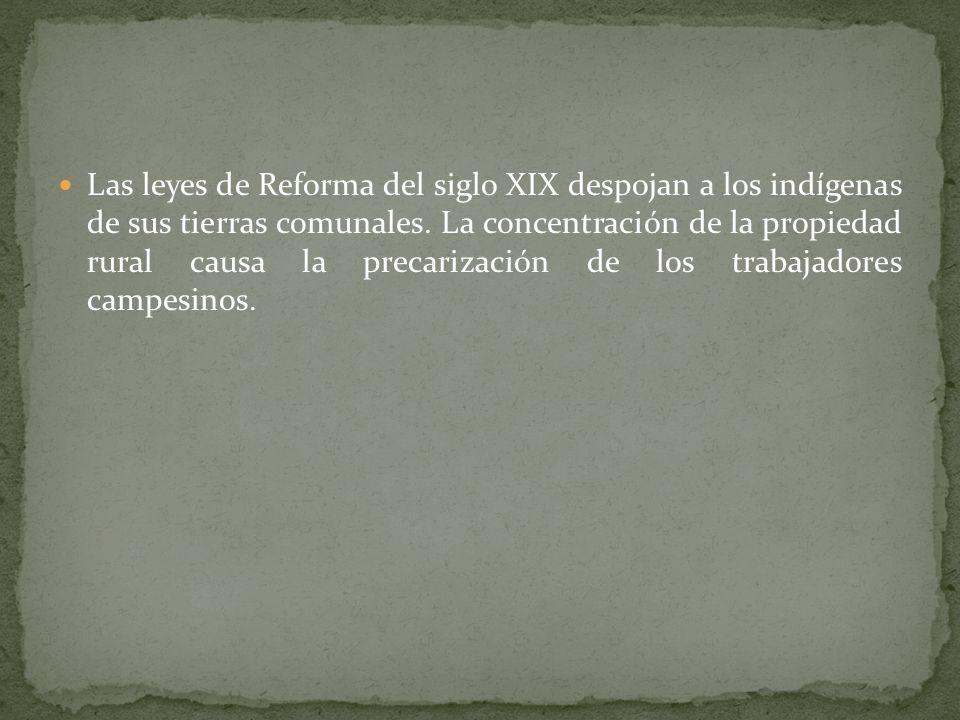 Las leyes de Reforma del siglo XIX despojan a los indígenas de sus tierras comunales.