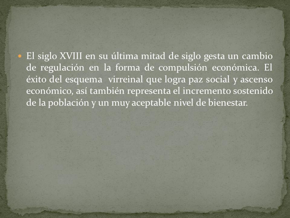 El siglo XVIII en su última mitad de siglo gesta un cambio de regulación en la forma de compulsión económica.