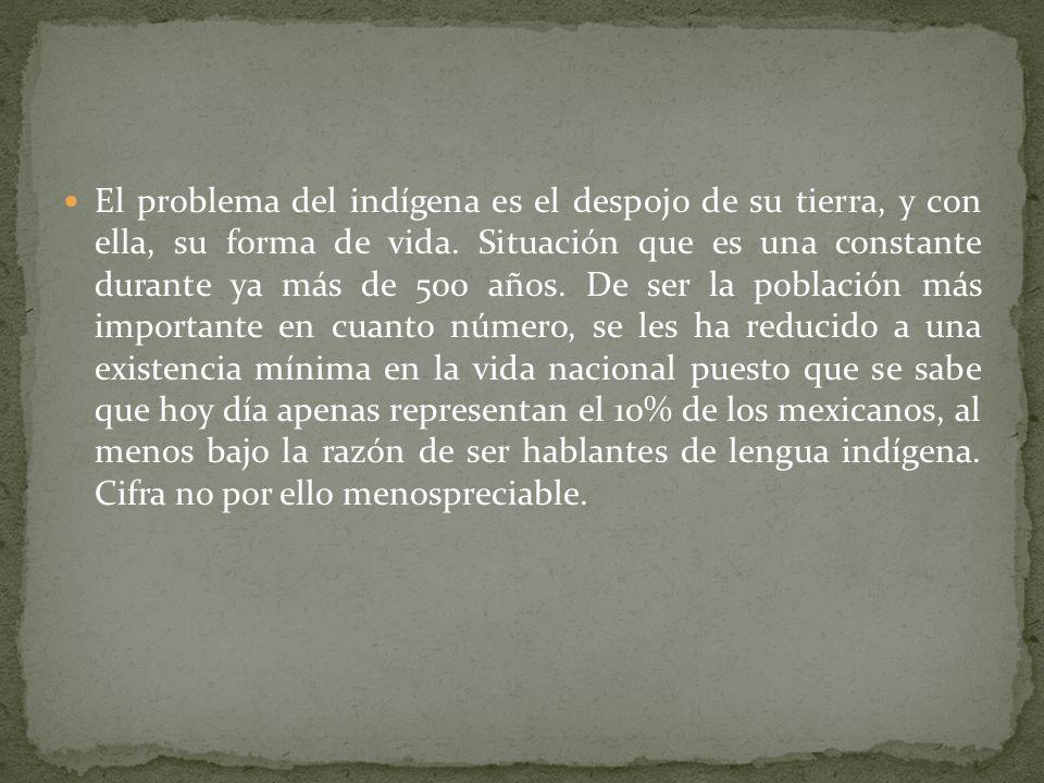 El problema del indígena es el despojo de su tierra, y con ella, su forma de vida.