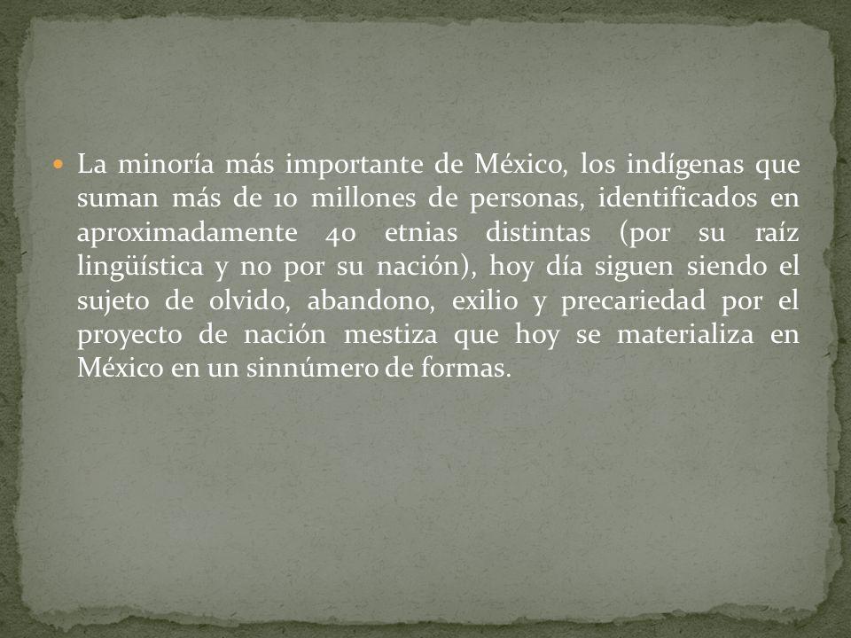 La minoría más importante de México, los indígenas que suman más de 10 millones de personas, identificados en aproximadamente 40 etnias distintas (por su raíz lingüística y no por su nación), hoy día siguen siendo el sujeto de olvido, abandono, exilio y precariedad por el proyecto de nación mestiza que hoy se materializa en México en un sinnúmero de formas.