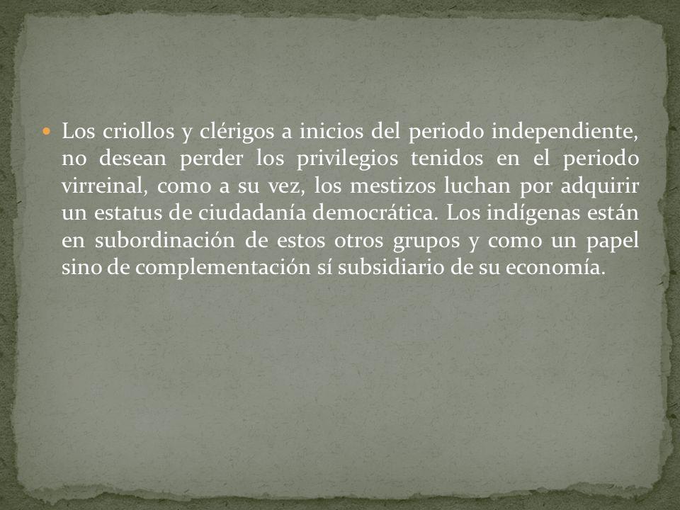 Los criollos y clérigos a inicios del periodo independiente, no desean perder los privilegios tenidos en el periodo virreinal, como a su vez, los mestizos luchan por adquirir un estatus de ciudadanía democrática.