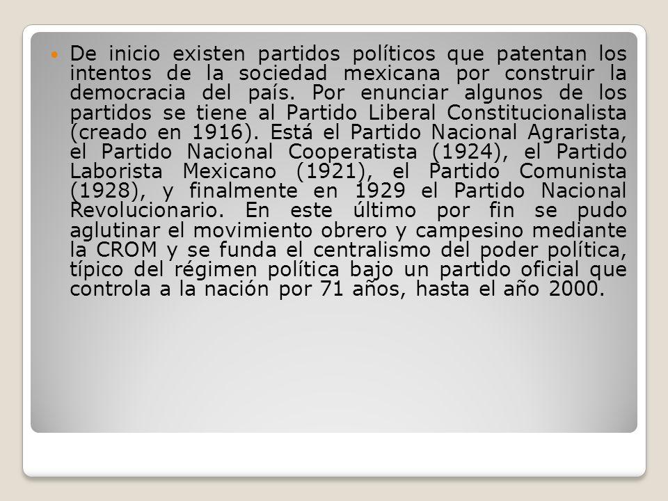De inicio existen partidos políticos que patentan los intentos de la sociedad mexicana por construir la democracia del país.