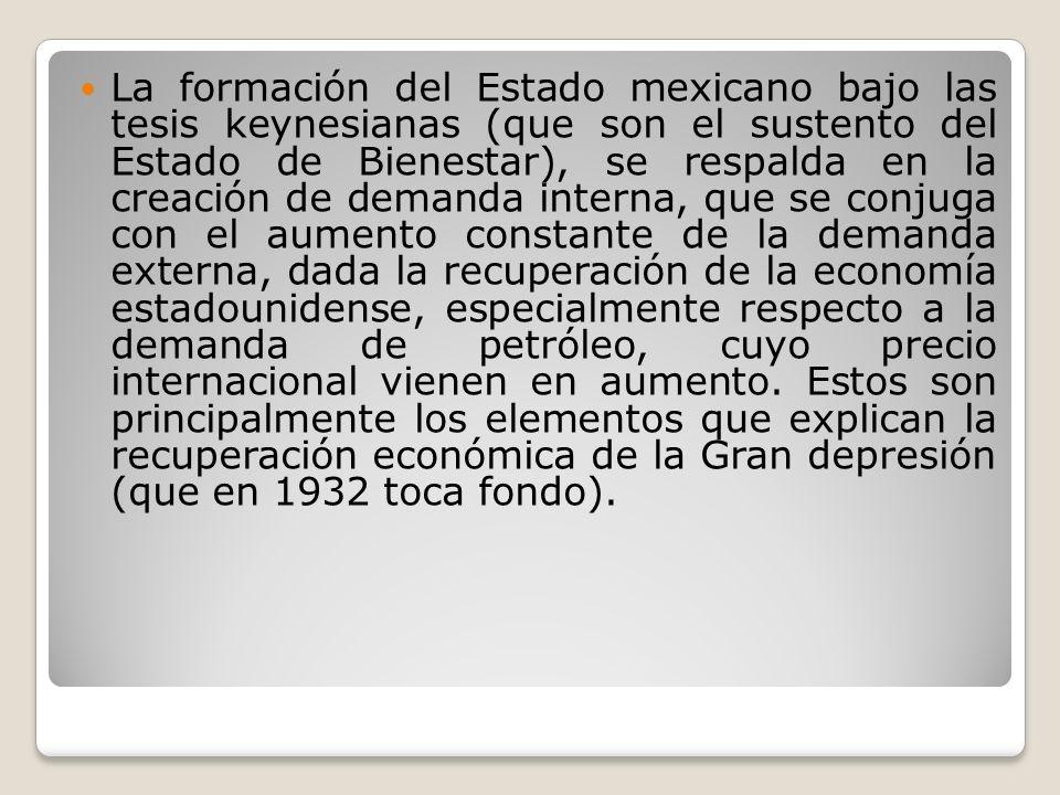 La formación del Estado mexicano bajo las tesis keynesianas (que son el sustento del Estado de Bienestar), se respalda en la creación de demanda interna, que se conjuga con el aumento constante de la demanda externa, dada la recuperación de la economía estadounidense, especialmente respecto a la demanda de petróleo, cuyo precio internacional vienen en aumento.