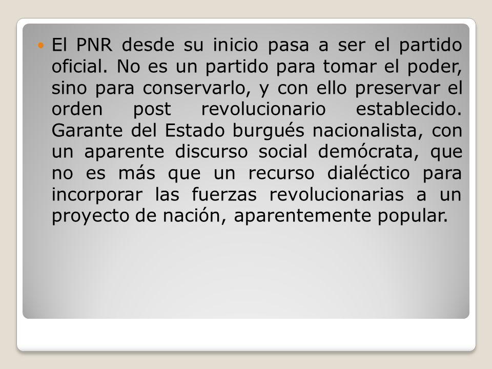 El PNR desde su inicio pasa a ser el partido oficial