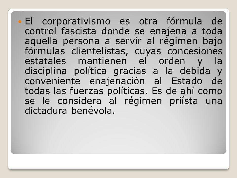 El corporativismo es otra fórmula de control fascista donde se enajena a toda aquella persona a servir al régimen bajo fórmulas clientelistas, cuyas concesiones estatales mantienen el orden y la disciplina política gracias a la debida y conveniente enajenación al Estado de todas las fuerzas políticas.