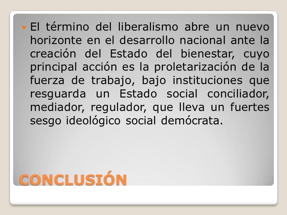El término del liberalismo abre un nuevo horizonte en el desarrollo nacional ante la creación del Estado del bienestar, cuyo principal acción es la proletarización de la fuerza de trabajo, bajo instituciones que resguarda un Estado social conciliador, mediador, regulador, que lleva un fuertes sesgo ideológico social demócrata.