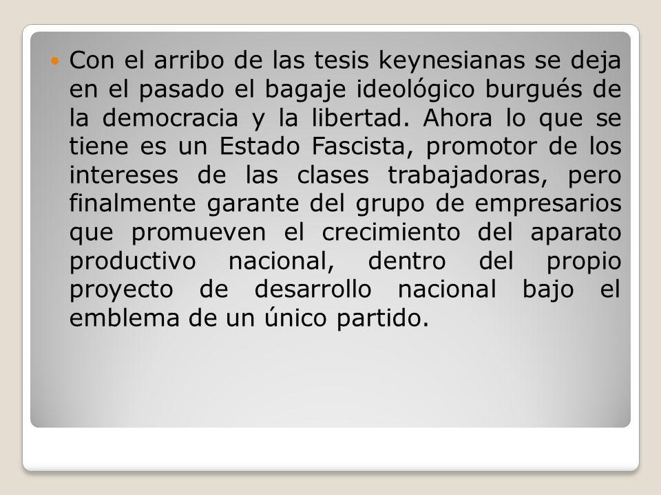 Con el arribo de las tesis keynesianas se deja en el pasado el bagaje ideológico burgués de la democracia y la libertad.