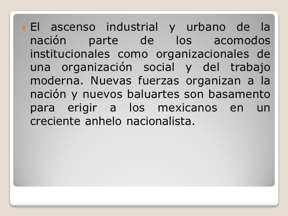El ascenso industrial y urbano de la nación parte de los acomodos institucionales como organizacionales de una organización social y del trabajo moderna.