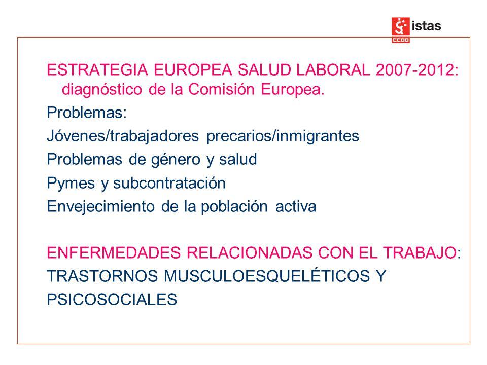 ESTRATEGIA EUROPEA SALUD LABORAL 2007-2012: diagnóstico de la Comisión Europea.