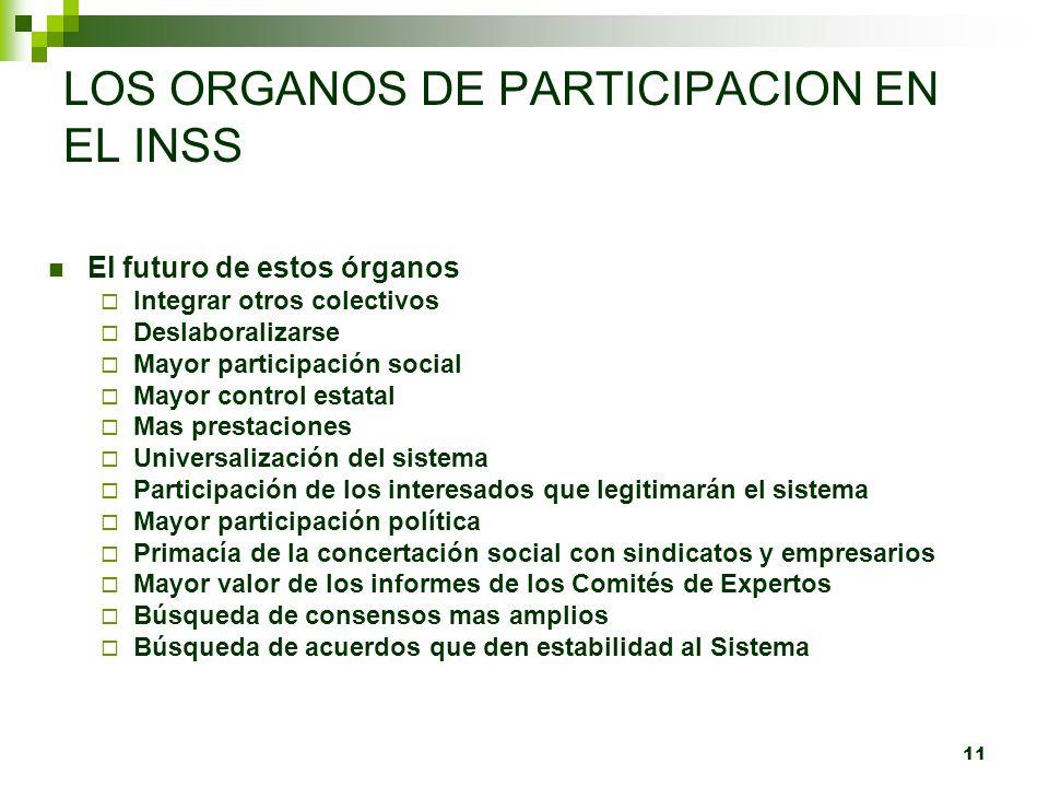 LOS ORGANOS DE PARTICIPACION EN EL INSS