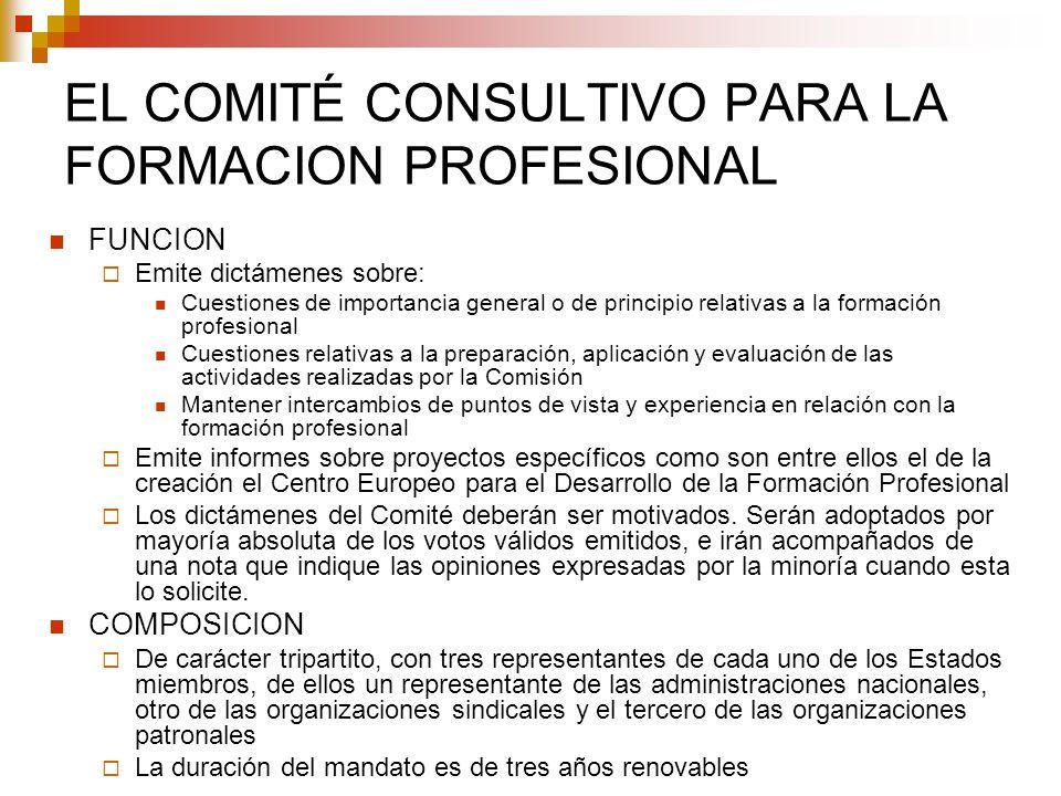EL COMITÉ CONSULTIVO PARA LA FORMACION PROFESIONAL