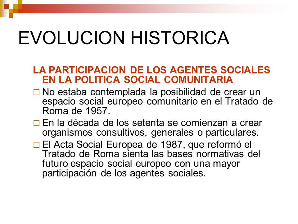 EVOLUCION HISTORICA LA PARTICIPACION DE LOS AGENTES SOCIALES EN LA POLITICA SOCIAL COMUNITARIA.