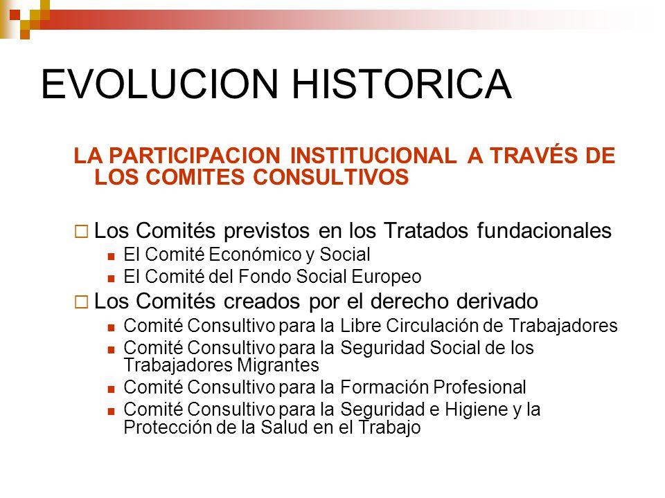 EVOLUCION HISTORICA LA PARTICIPACION INSTITUCIONAL A TRAVÉS DE LOS COMITES CONSULTIVOS. Los Comités previstos en los Tratados fundacionales.