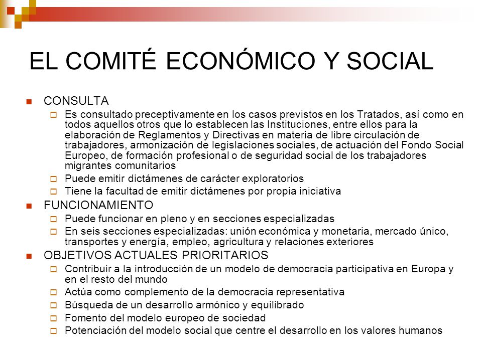EL COMITÉ ECONÓMICO Y SOCIAL