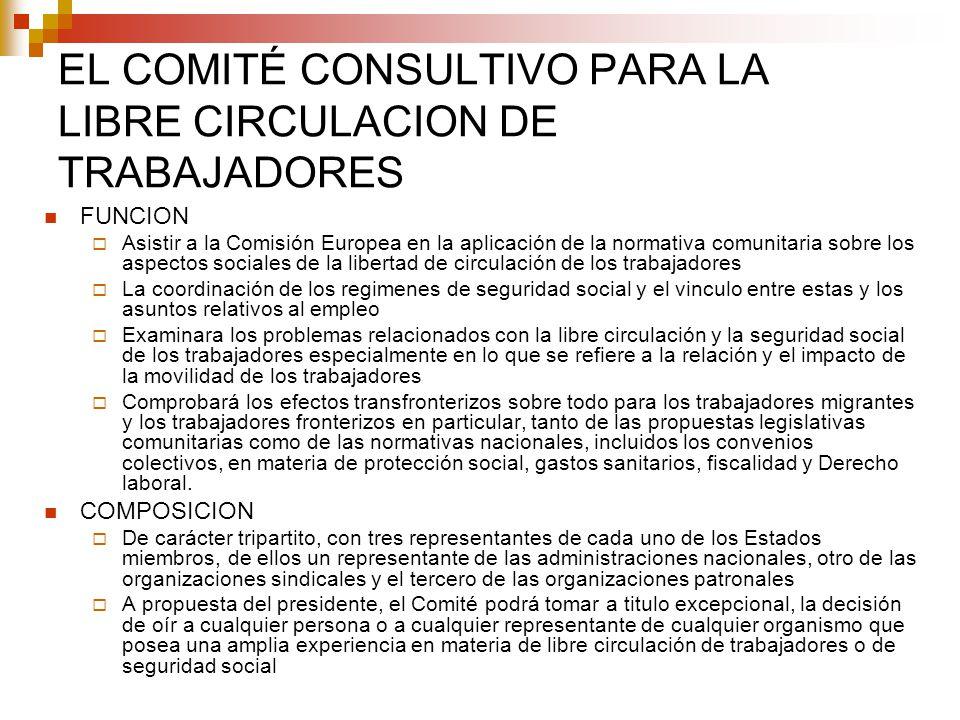 EL COMITÉ CONSULTIVO PARA LA LIBRE CIRCULACION DE TRABAJADORES